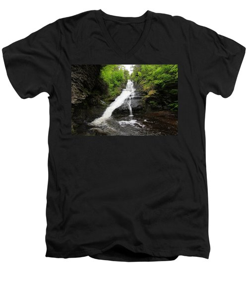 Men's V-Neck T-Shirt featuring the photograph Dingmans Falls by Trina  Ansel