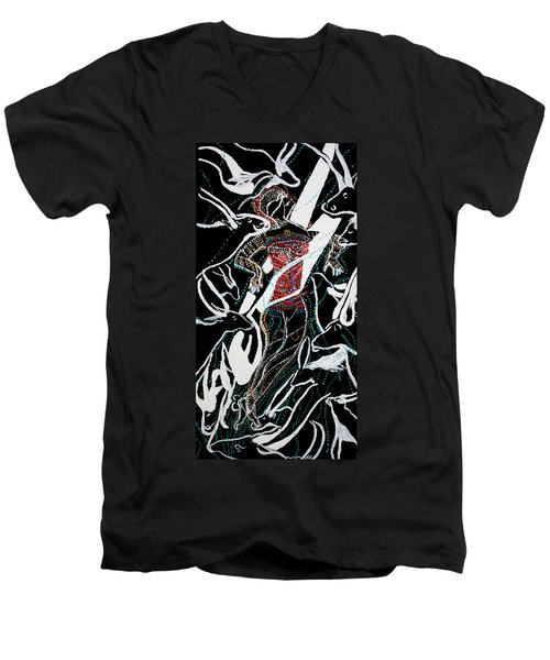 Men's V-Neck T-Shirt featuring the painting Dinka Dance by Gloria Ssali