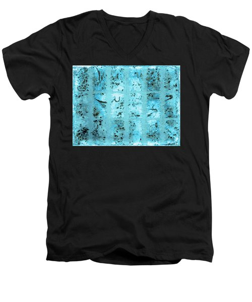 Men's V-Neck T-Shirt featuring the photograph Dirty Snow Grunge by Paula Ayers
