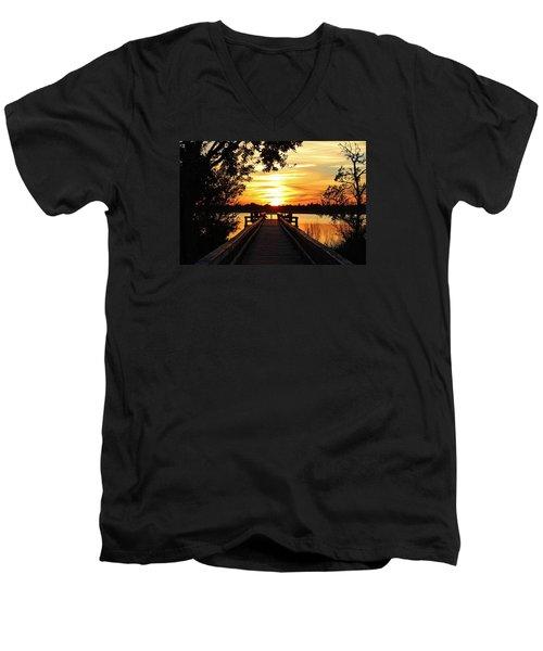 Disappearing Sun  Men's V-Neck T-Shirt by Cynthia Guinn