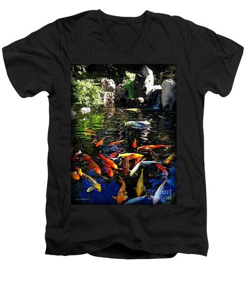 Disney Epcot Japanese Koi Pond Men's V-Neck T-Shirt