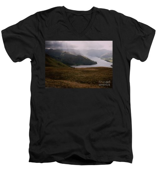 Men's V-Neck T-Shirt featuring the photograph Distant Hills Cumbria by John Williams