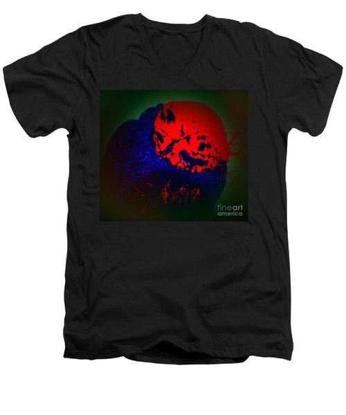 Men's V-Neck T-Shirt featuring the painting Divide by Jacqueline McReynolds