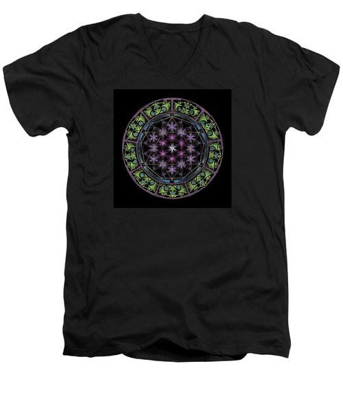 Men's V-Neck T-Shirt featuring the painting Divine Feminine Energy by Keiko Katsuta