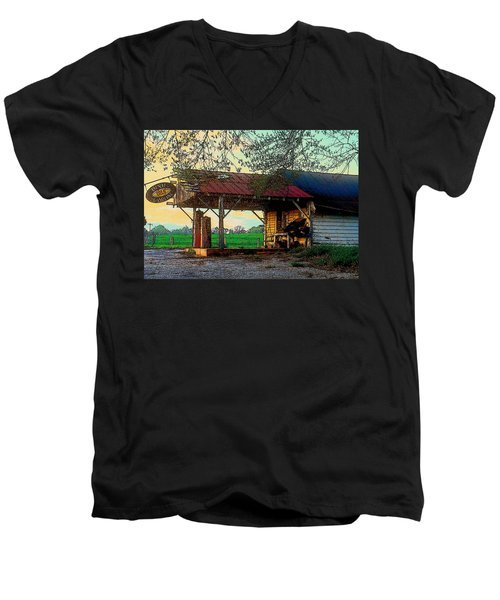 Men's V-Neck T-Shirt featuring the photograph Dixie Oil And Gasoline by Rodney Lee Williams
