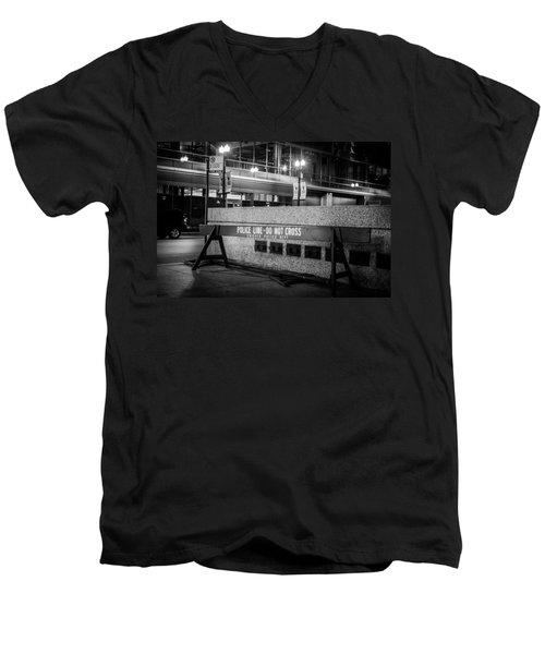 Do Not Cross Men's V-Neck T-Shirt by Melinda Ledsome