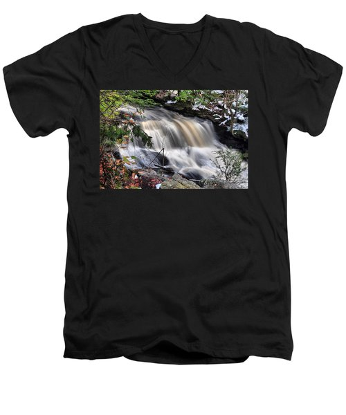 Men's V-Neck T-Shirt featuring the photograph Doane's Lower Falls In Central Mass. by Mitchell R Grosky