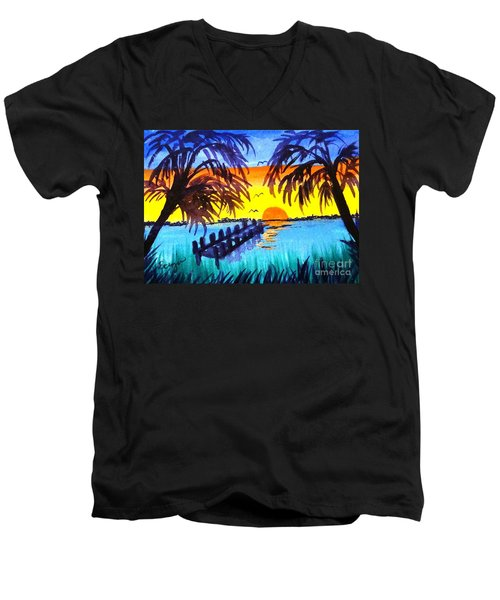 Men's V-Neck T-Shirt featuring the painting Dock At Sunset by Ecinja Art Works