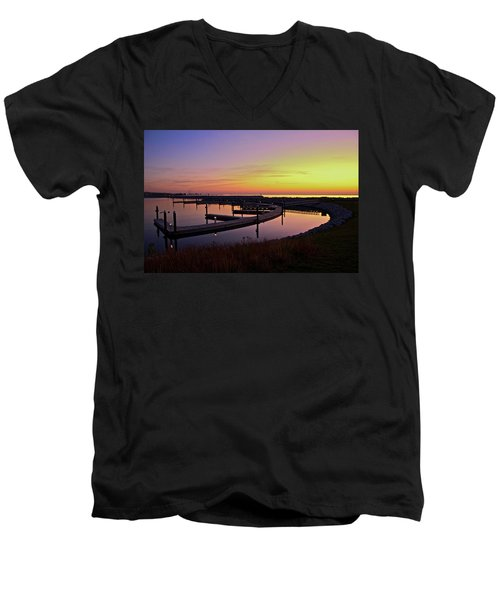 Men's V-Neck T-Shirt featuring the photograph Docks At Sunrise by Jonah  Anderson
