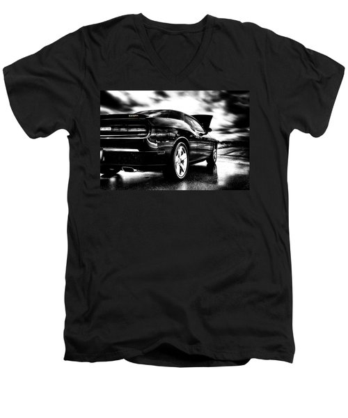 Dodge Challenger Srt In Hdr Men's V-Neck T-Shirt