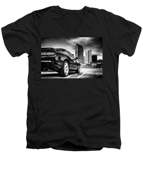 Dodge Challenger Tampa Skyline  Men's V-Neck T-Shirt