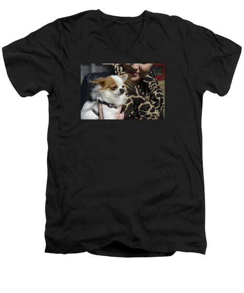 Men's V-Neck T-Shirt featuring the photograph Dog And True Friendship 2 by Teo SITCHET-KANDA