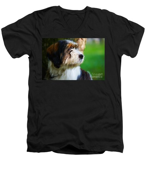 Dog Sitting Next To A Tree Men's V-Neck T-Shirt