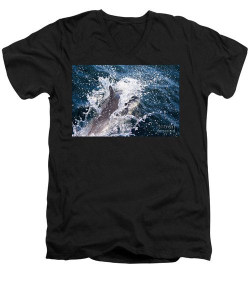 Men's V-Neck T-Shirt featuring the photograph Dolphin Splash by John Wadleigh