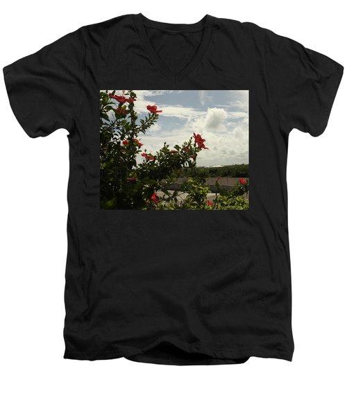 Dominican Red Flower Men's V-Neck T-Shirt