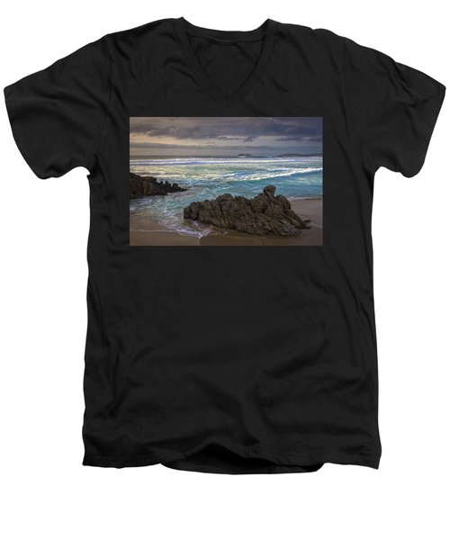 Men's V-Neck T-Shirt featuring the photograph Doninos Beach Ferrol Galicia Spain by Pablo Avanzini