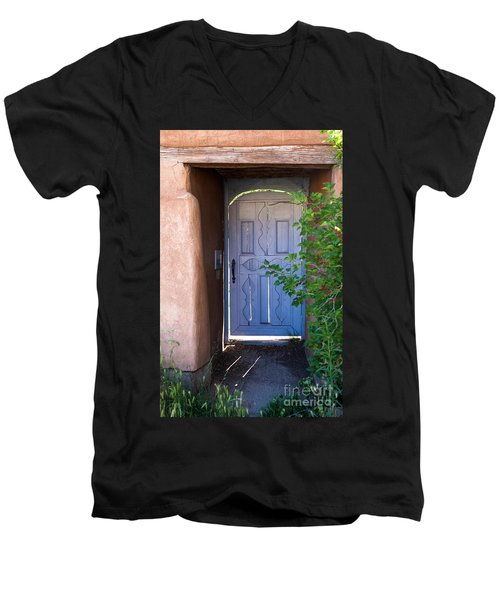 Men's V-Neck T-Shirt featuring the photograph Doors Of Santa Fe by Roselynne Broussard