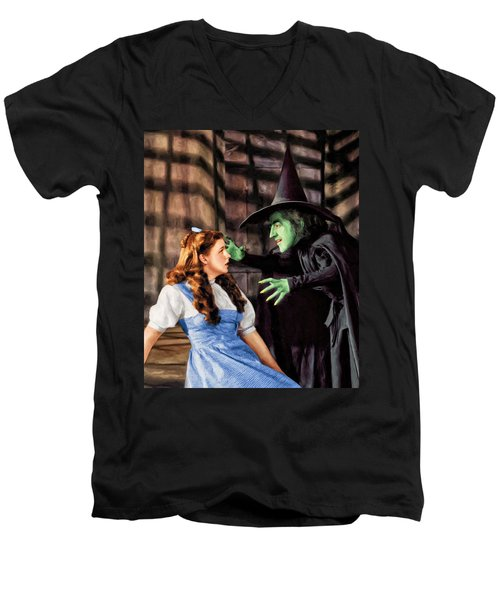 Dorothy And The Wicked Witch Men's V-Neck T-Shirt by Dominic Piperata