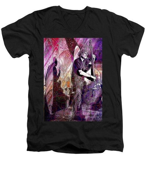 Double Bass Silhouette  Men's V-Neck T-Shirt by Ian Gledhill