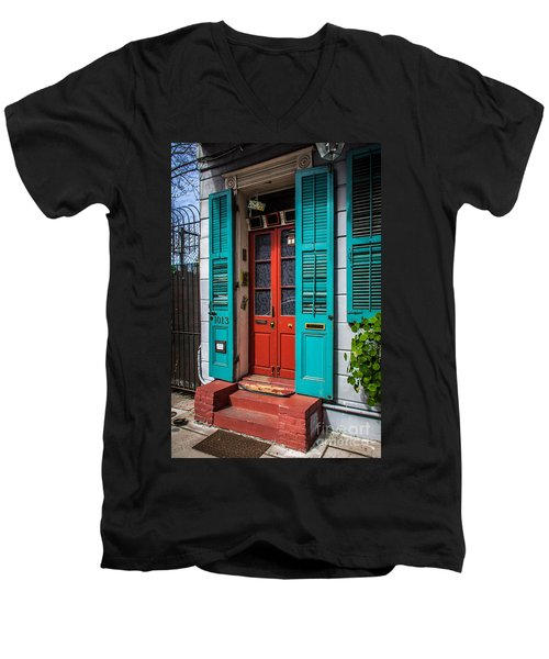 Double Red Door Men's V-Neck T-Shirt by Perry Webster