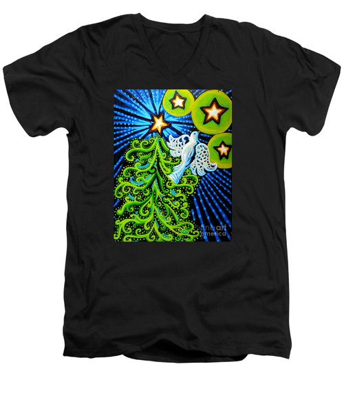 Dove And Christmas Tree Men's V-Neck T-Shirt by Genevieve Esson