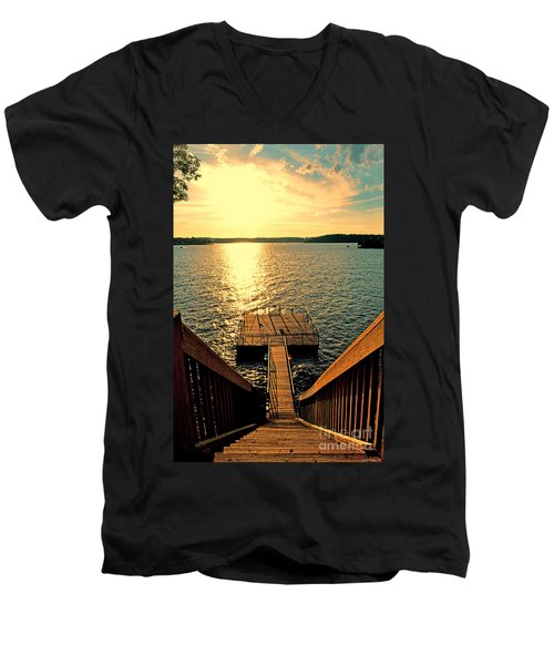 Down To The Fishing Dock - Lake Of The Ozarks Mo Men's V-Neck T-Shirt by Debbie Portwood