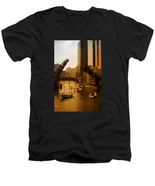 Downtown Chicago Men's V-Neck T-Shirt by Miguel Winterpacht