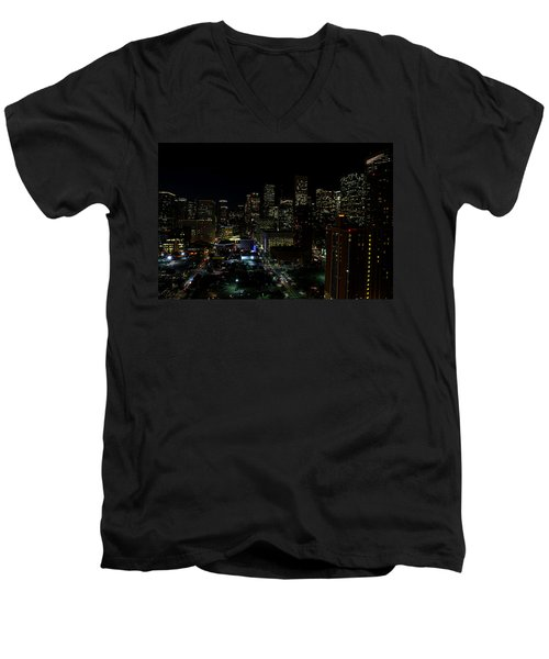 Downtown Houston At Night Men's V-Neck T-Shirt by Judy Vincent
