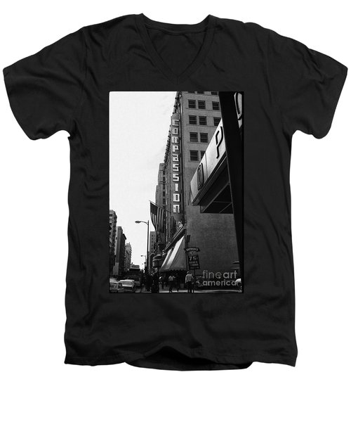Men's V-Neck T-Shirt featuring the photograph Downtown La - Mid '70's by Doc Braham