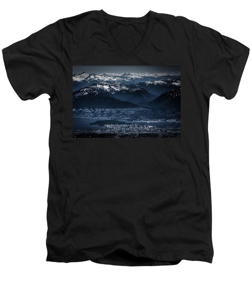 Downtown Vancouver And The Mountains Aerial View Low Key Men's V-Neck T-Shirt by Eti Reid