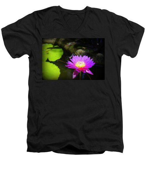 Men's V-Neck T-Shirt featuring the photograph Dragonfly Resting by Laurie Perry