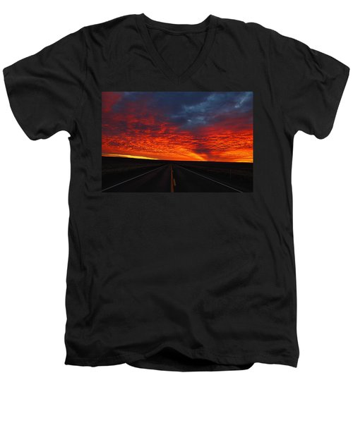 Men's V-Neck T-Shirt featuring the photograph Dramatic Sunrise by Lynn Hopwood