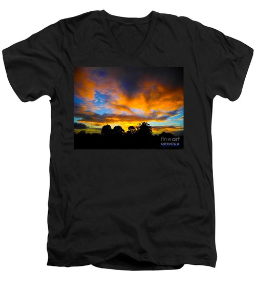 Men's V-Neck T-Shirt featuring the photograph Dramatic Sunset by Mark Blauhoefer