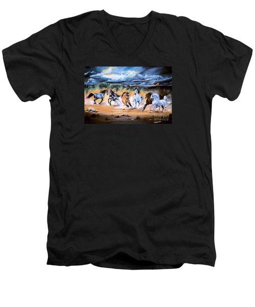 Dream Horse Series 125 - Flat Bottom River Wild Horse Herd Men's V-Neck T-Shirt by Cheryl Poland