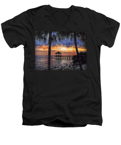 Men's V-Neck T-Shirt featuring the photograph Dream Pier by Hanny Heim