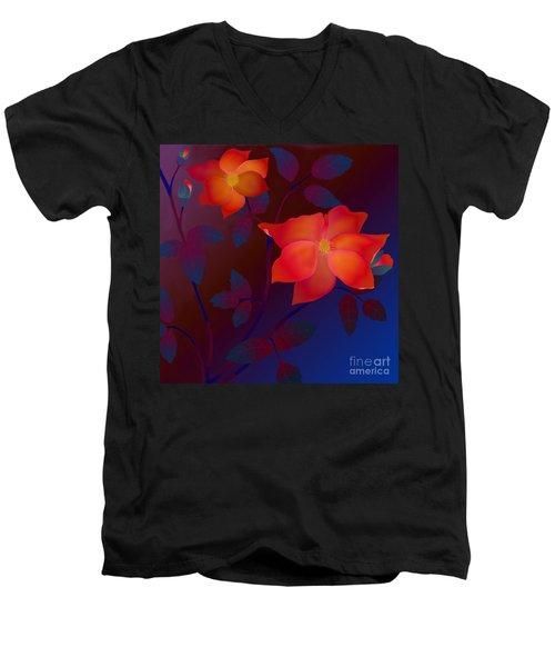 Dreaming Wild Roses Men's V-Neck T-Shirt by Latha Gokuldas Panicker