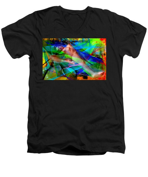 Men's V-Neck T-Shirt featuring the digital art Dreams In Color by Rafael Salazar