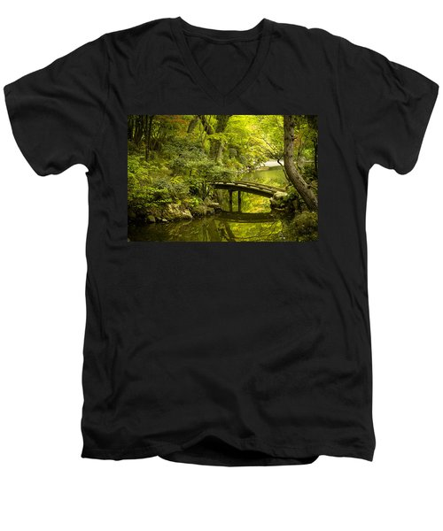 Dreamy Japanese Garden Men's V-Neck T-Shirt by Sebastian Musial
