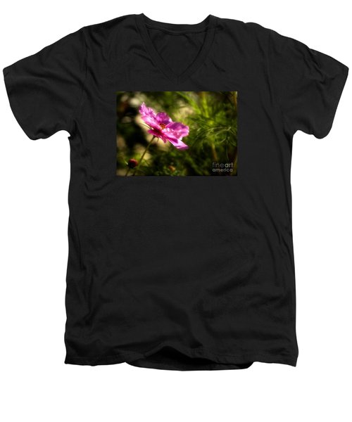 Dreamy Pink Comos Men's V-Neck T-Shirt