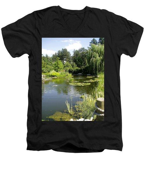 Men's V-Neck T-Shirt featuring the photograph Dreamy Pond by Verana Stark