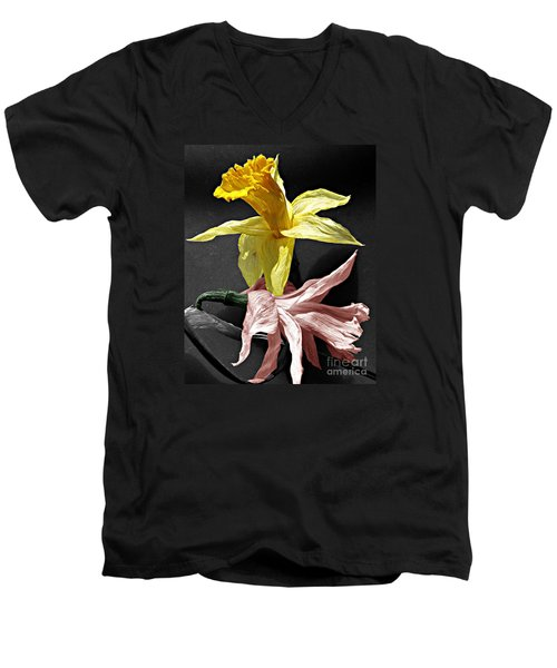 Men's V-Neck T-Shirt featuring the photograph Dried Daffodils by Nina Silver