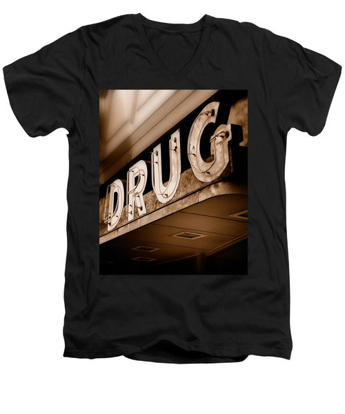Drug Store Sign - Vintage Downtown Pharmacy Men's V-Neck T-Shirt