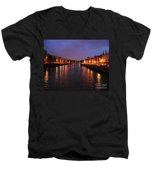 Men's V-Neck T-Shirt featuring the photograph Dublin Nights by Mary Carol Story