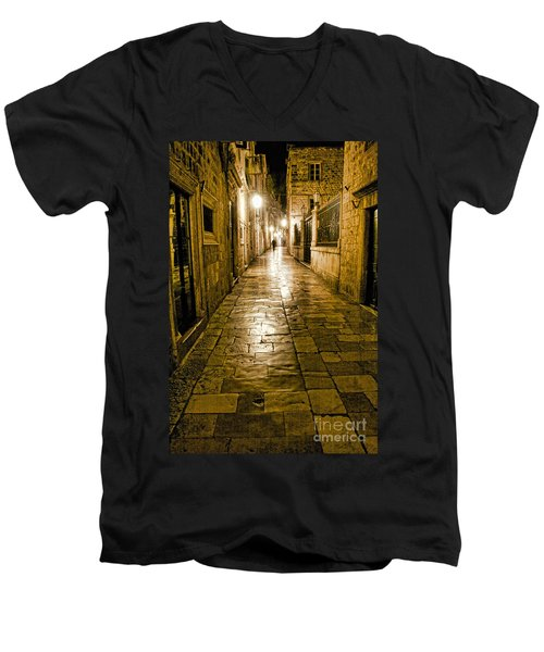 Dubrovnik Streets At Night Men's V-Neck T-Shirt