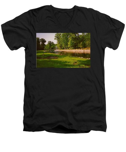 Men's V-Neck T-Shirt featuring the photograph Duck Pond With Water Fountain by Amazing Photographs AKA Christian Wilson