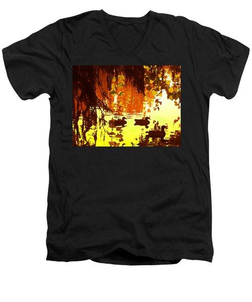 Ducks On Red Lake Men's V-Neck T-Shirt