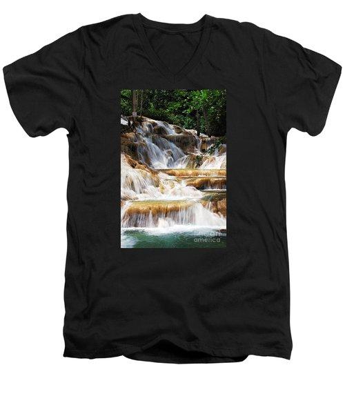 Dunn Falls Men's V-Neck T-Shirt by Hannes Cmarits