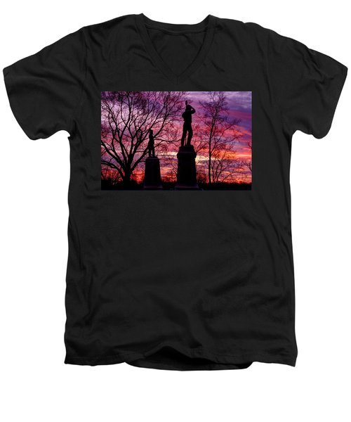 Men's V-Neck T-Shirt featuring the photograph Durell's Independent Battery D And 48th Pa Volunteer Infantry-a1 Sunset Antietam by Michael Mazaika
