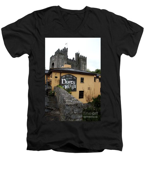 Durty Nellys And Bunraty Castle Men's V-Neck T-Shirt by Christiane Schulze Art And Photography