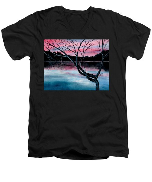 Dusk Lake Arrowhead Maine  Men's V-Neck T-Shirt